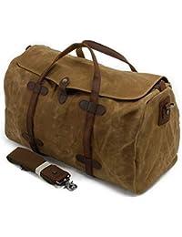 82ea32ec135 Waterproof Waxed Canvas Leather Trim Travel Tote Duffel Handbag Weekend Bag
