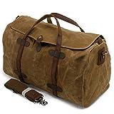 S-ZONE Waterproof Waxed Canvas Leather Trim Travel Tote Duffel Handbag Weekend Bag