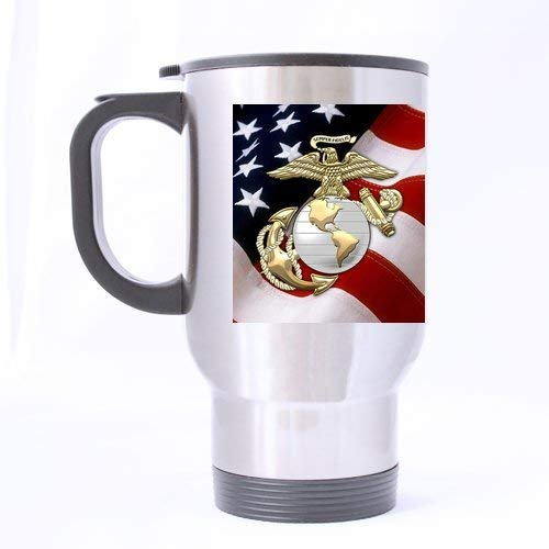 Christmas/New Year Gifts USMC Emblem,US Marines,US Marine Corps,Semper Fi Tea Or Coffee Or Wine Cup 100% Stainless Steel 14-Ounce Travel Mug