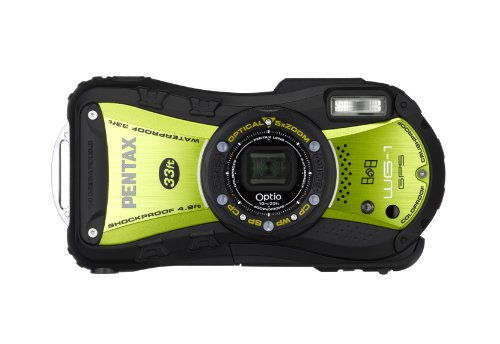 Pentax Optio WG-1 14 MP Waterproof Digital Camera with GPS and 5xOptical Zoom -  Yellow/Green