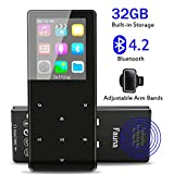 MP3 Player with Bluetooth 4.2, Fauna 32GB Portable Lossless Sound Metal Music Player with Internal Speaker, FM Radio Armband Pedometer Voice Recorder, Support up to 128GB
