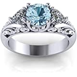 Women Fashion Jewelry 925 Silver 2CT Aquamarine Wedding Engagement Ring Size6-10#by pimchanok shop (6)