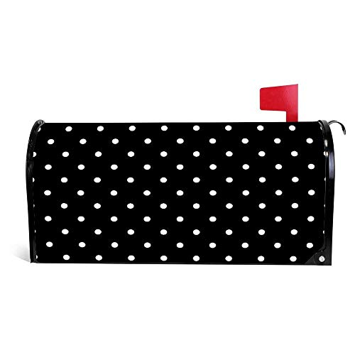 (Yilooom Black and White Outdoor Pillows Polka dot Mailbox Cover Magnetic Mail Box Wrap Yard Garden Decor 17.25 X 20.75 Inches)