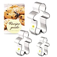 Christmas Gingerbread Man Cookie Cutter Set [3-Piece] - Tin Plated Steel, Perfectly Designed, Gingerbread Man Shapes, Durable Cookie Cutter with Recipe Book