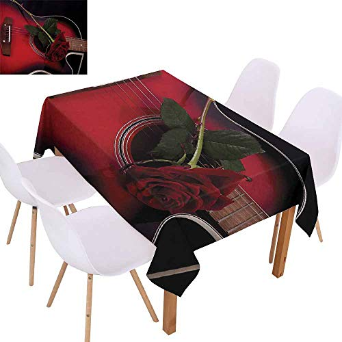 UHOO2018 Red and Black,Microfiber Tablecloth,Spanish Musician Portugal Hand Made Guitar with Romance Theme Love Rose,Assorted Sizes & Colors,Ruby and White,60
