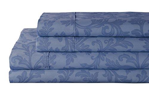 Elite Denim (Elite Home Products 250SSFU460HMEDA T25O Home Styles Damask C/R Sheet Set Blue,Full Size,Denim,Full)