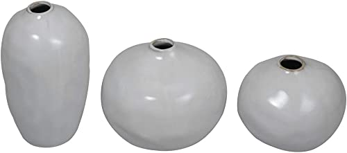 ninepeak Small White Ceramic Vase Decorative, Set of 3 Medium