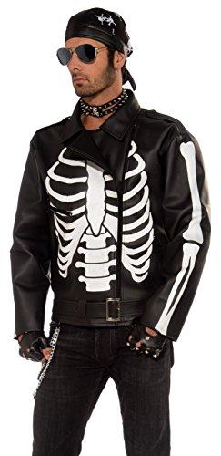 Forum Novelties Men's Skeleton Biker Jacket, Black/White, One (Biker Costume Guy)