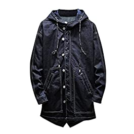 Charberry 2019 New Men's Autumn Winter Casual Retro Long Sleeve Turn-Down Collar Denim Jacket Coat