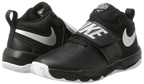 Nike Boys' Team Hustle D 8 (GS) Basketball Shoe, Black/Metallic Silver - White, 6Y Youth US Big Kid