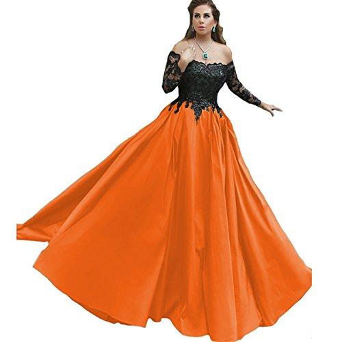 orange and black formal dresses - 1