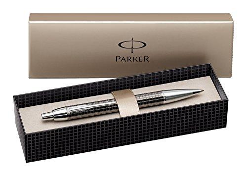 Parker S0908710 IM-Premium-Kugelschreiber (Tiefes Metallisch-Grau Gemeißelt, mit Chromeinfassung, Strichstärke Mittel) schreibfarbe blau
