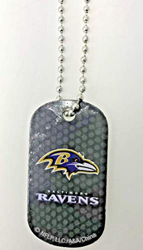 Mirror Mania Baltimore Ravens NFL Football Dog Tag Chain Personalized Free Engraved Custom Name On Back - a Chain, Keychain, Luggage tag, or Clip on Backpack or Bag.