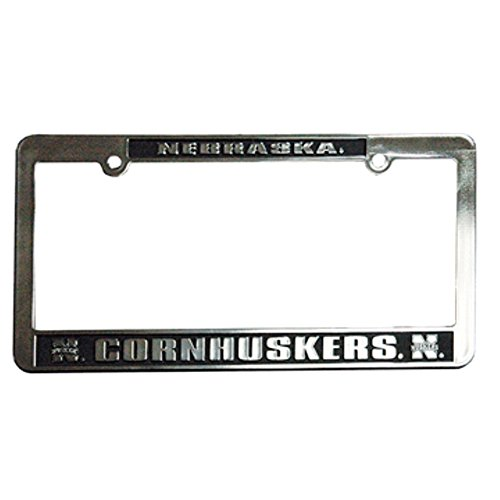 Huskers Chrome License Plate Frame (Nebraska Cornhuskers Silver & Black Auto License Frame)