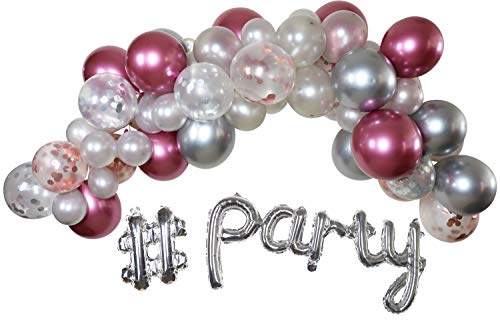Balloon Arch Garland Kit 86 Pcs. | Rose Gold Silver Rose Confetti Chrome Metallic