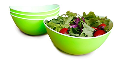 48-oz Pasta/Salad Bowls,Set of 4,Unbreakable Plastic and Wavy Rim,2-Tone,Light Green and White,Honla