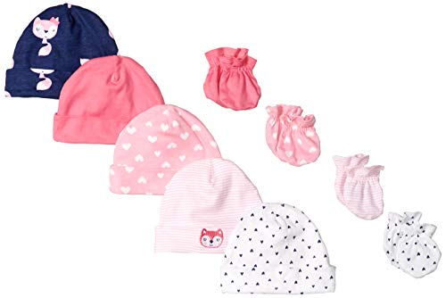 -Piece Cap and Mitten Bundle, Pink Fox, Newborn ()