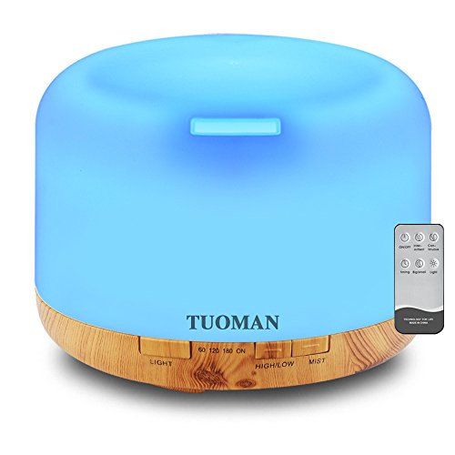 TUOMAN Essential Oil Diffuser, 500ml Remote Control 5 in 1 Ultrasonic Aromatherapy Fragrant Oil Vaporizer Humidifier, Timer and Auto-Off Safety Switch, 7 LED Light Colors- White and Wood Pattern