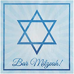 Cocktail Napkins - 150-Pack Luncheon Napkins, Disposable Paper Napkins, Jewish Celebration, Kids Birthday Party Supplies, 2-Ply, Star of David Design, Unfolded 13 x 13 Inches, Folded 6.5 x 6.5 Inches