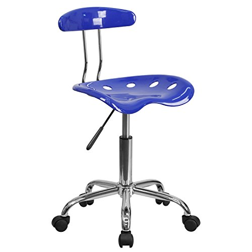 MFO Vibrant Nautical Blue and Chrome Task Chair with Tractor Seat