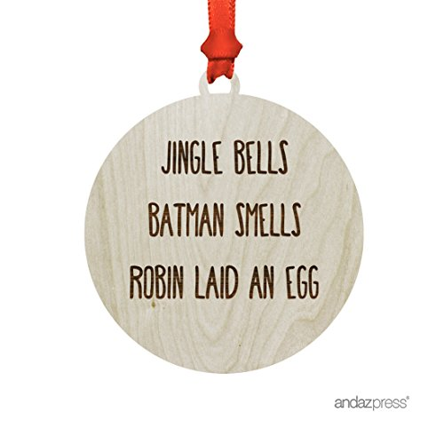 Laid Laser (Andaz Press Funny Laser Engraved Wood Christmas Ornament with Gift Bag, Jingle Bells Batman Smells Robin Laid an Egg, Handwriting, Round, 1-Pack)