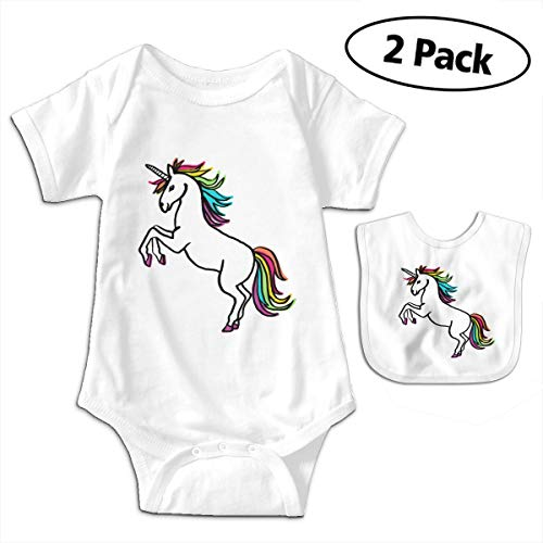 LMJ-PPF Happy Unicorn Unisex Baby Short Sleeve Bodysuits Onesies Give Baby Bib, White ()