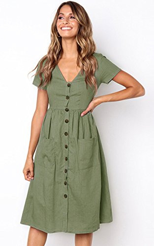 Angashion Women's Dresses-Short Sleeve V Neck Button T Shirt Midi Skater Dress with Pockets by Angashion (Image #2)