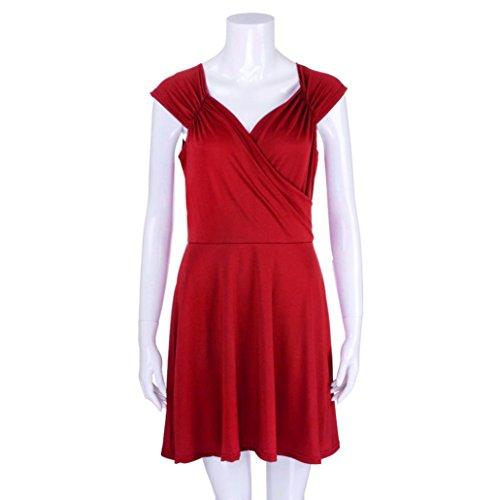 Huhu833 Abendkleid Mode Damen A Linie Kleid Vausschnitt Armelloses