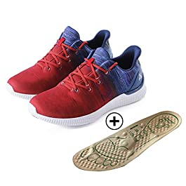 BREATH WALKER Foot Massage Shoes Help Improve Immunity for Middle-Aged and Elderly – with Arch Support Shoe Insert for Plantar Fasciitis(Red 43)