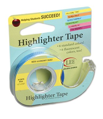 10 Pack LEE PRODUCTS COMPANY REMOVABLE HIGHLIGHTER TAPE BLUE by Lee Products Company