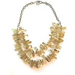 Yellow Golden Lemon Quartz Crystal Necklace Chunky and Meaningful