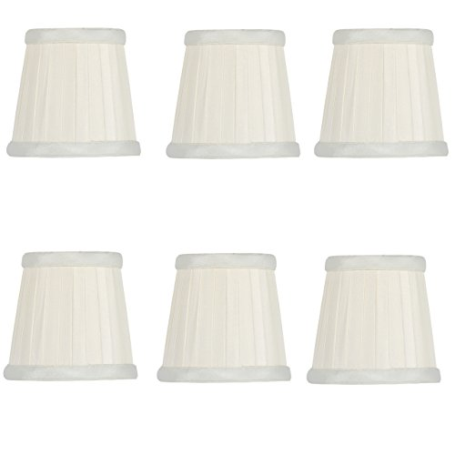 - Upgradelights Eggshell Silk Pleated 3.5 Inch Clip On Chandelier Lamp Shades (Set of six) 2.5x3.5x3.5
