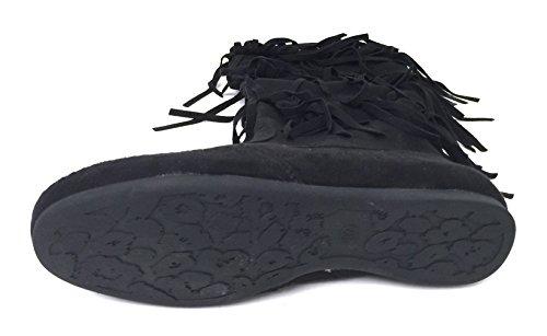 G4U-XS G-XS Womens Fringe Moccasin Boots Suede Flat 3-Layer Zipper Fashion Knee High Mid Calf Shoes, Black, Camel Black