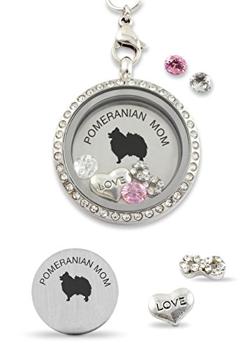 Pomeranian Necklace - Pomeranian Mom Infinity Love Dog Floating Charm Living Memory Locket Magnetic Closure 30mm Stainless Steel Pendant Necklace