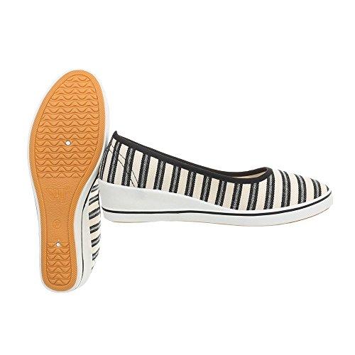 Slippers Wedge Heel Loafer Ital Zy1705 Design Women's Flats White Black w6XIYxqax