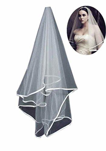 Satin Ribbon Edge Veil - Mollybridal Simple Satin Ribbon Edge Wedding Bridal Veil One Layer No Comb White