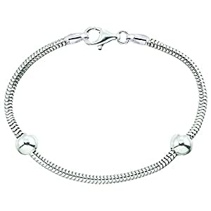 "Zable 6.5"" Sterling Silver Snake Bracelet with Smart Bead / Charm"