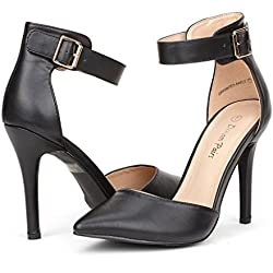 DREAM PAIRS OPPOINTED-ANKLE Women's Pointed Toe Ankle Strap D'Orsay High Heel Stiletto Pumps Shoes Black Size 7.5