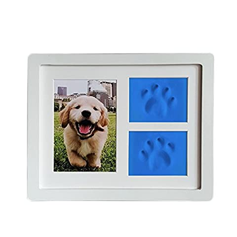 Darkyazi In Memory Of Pet Picture Frame Dog or Cat Paw Print Pet Keepsake Photo Frame With Clay Imprint Kit. - Picture Paw Print