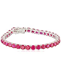 Created Precious Gemstone Round-Cut Tennis Bracelet in Sterling Silver (5mm)