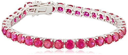 Created Ruby Round Cut Tennis Bracelet in Sterling Silver (5mm)