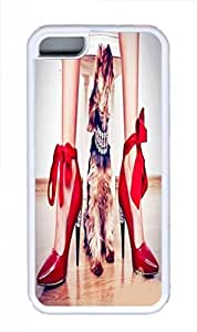 Soft Rubber Case Cover For iPhone 5C White TPU Back Phone Case Single Shell Skin For iPhone 5C With Dog and Red Stilettos Girl