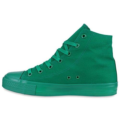 Übergrößen Grün Sneaker Stiefelparadies Flandell high Herren Grün Unisex Damen wOxO1q8XT