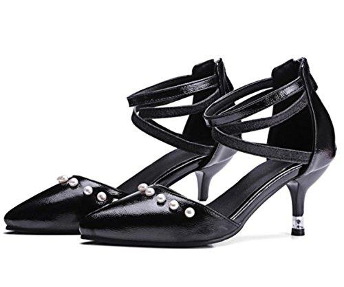 Scarpe basse della bocca delle donne di YCMDM Scarpe singole dei nuovi sandali a punta del piede , black , 37