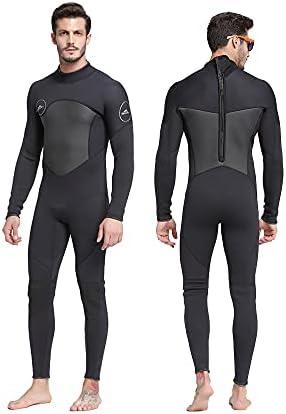 Wetsuit Men 5mm Premium Thermal Long Sleeve Neoprene Wetsuits,Back Zip Full Body Diving Suit for Surfing Swimming Snorkeling