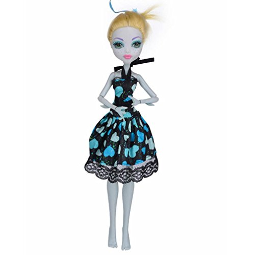 Doll Clothes, Rucan Fashion Princess Dress for Monster High Doll - American High Monster Girl
