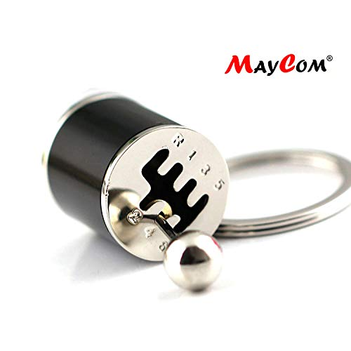 (Maycom Creative Auto Part Model Six-Speed Manual Transmission Shift Lever Keychain Keyring Key Chain Ring Keyrings Keyfob (Black))