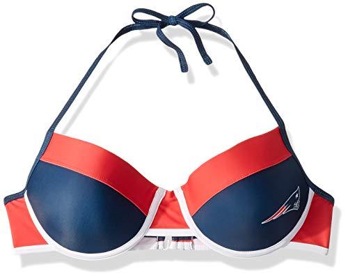 FOCO NFL New England Patriots Womens Team Logo Swim Suit Bikiniteam Logo Swim Suit Bikini, Top, Small