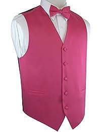 Men's Formal Tuxedo Vest & Bow-Tie Set In Fuchsia