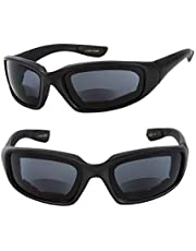 Motorcycle Bifocal Sunglasses (2 Pair Included) - EVA Safety Goggles with Foam Padding for Men and Women